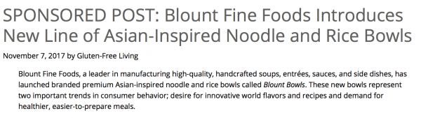 Gluten-Free Living Introduces Blount Bowls